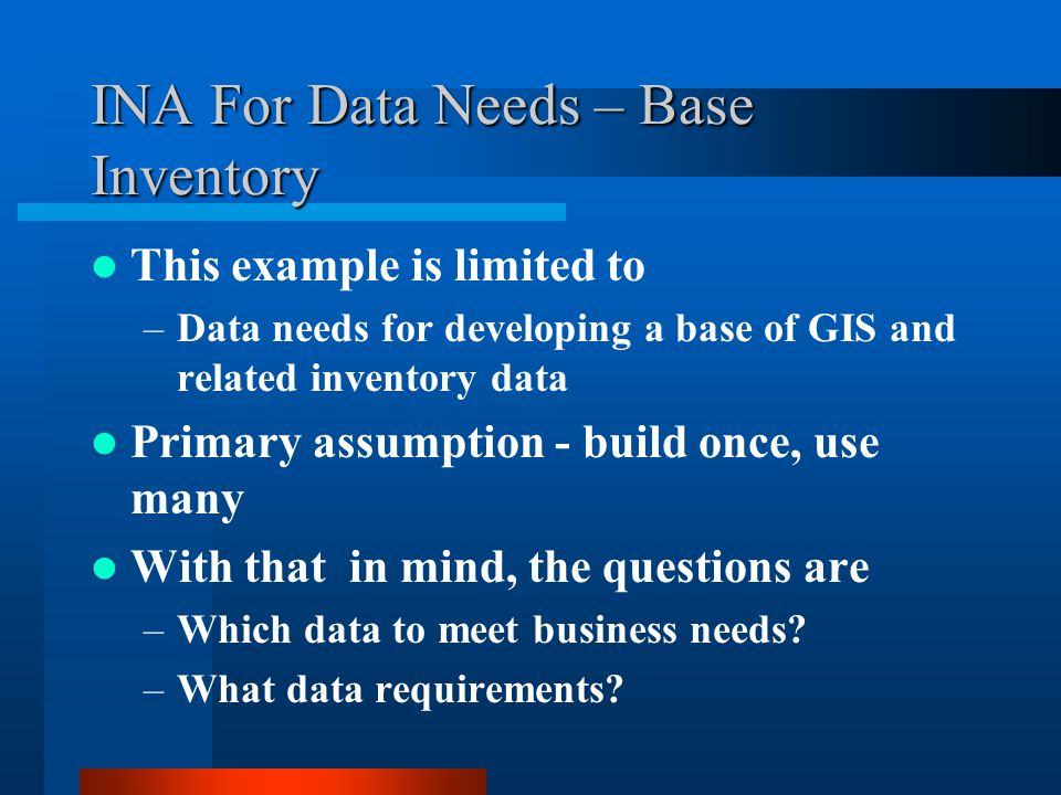 INA For Data Needs – Base Inventory