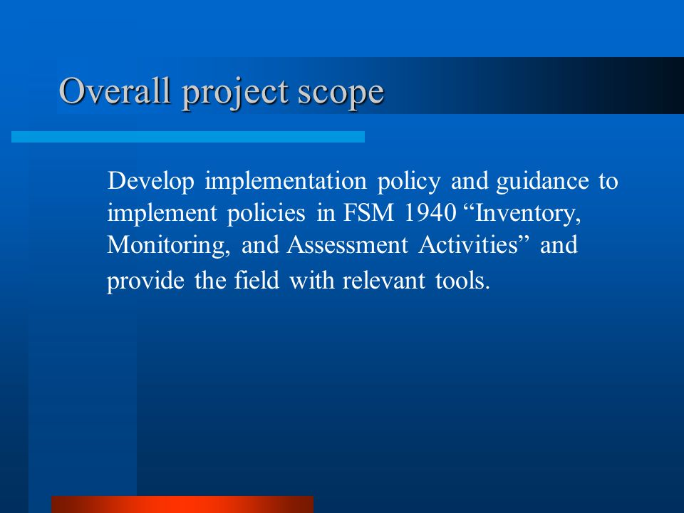 Overall project scope