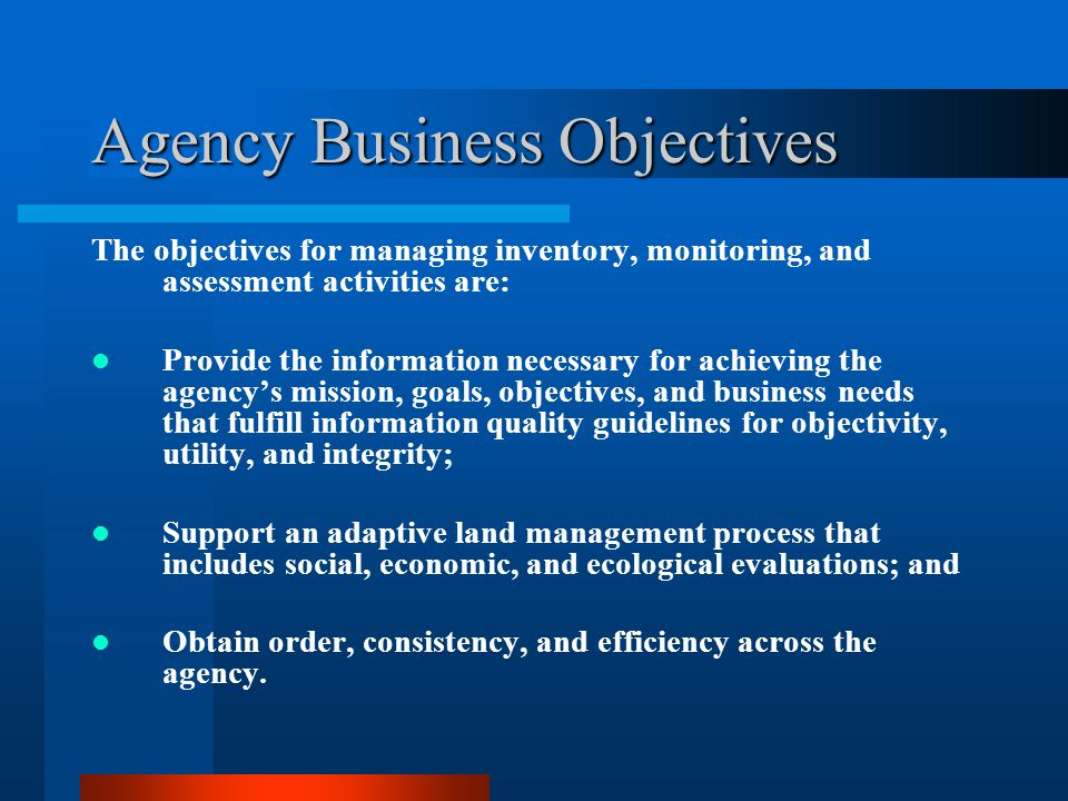 Agency Business Objectives