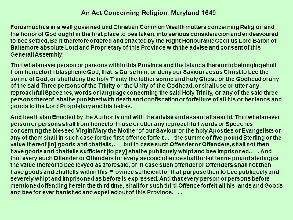 An Act Concerning Religion, Maryland 1649