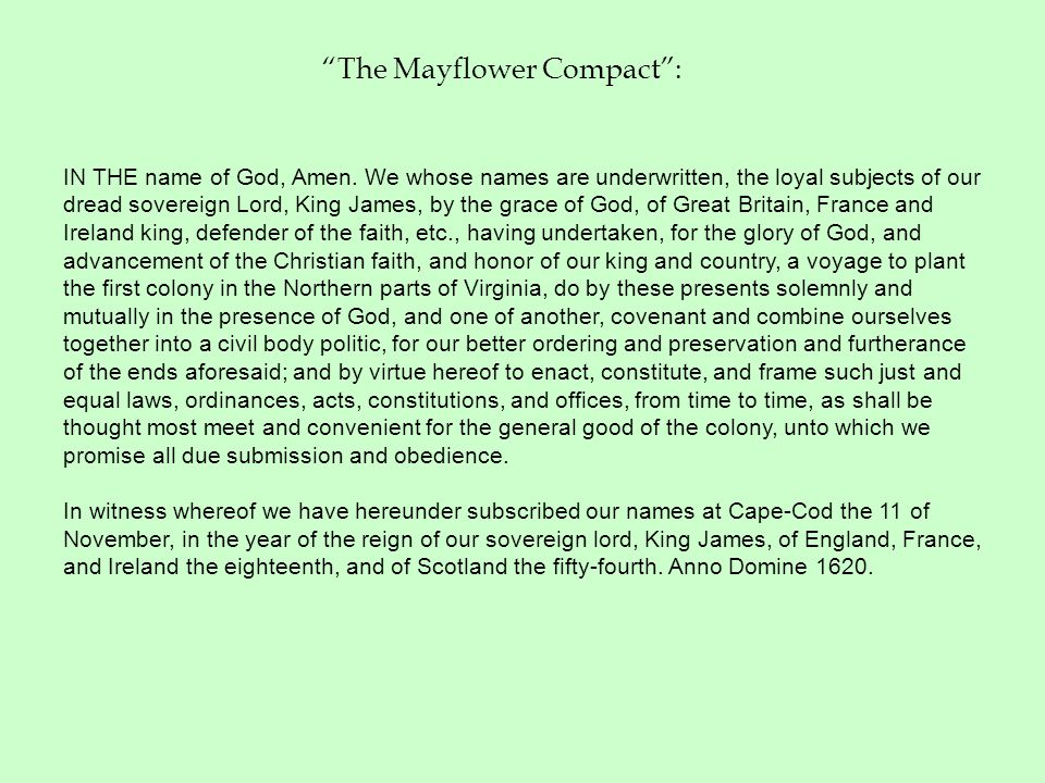 The Mayflower Compact :