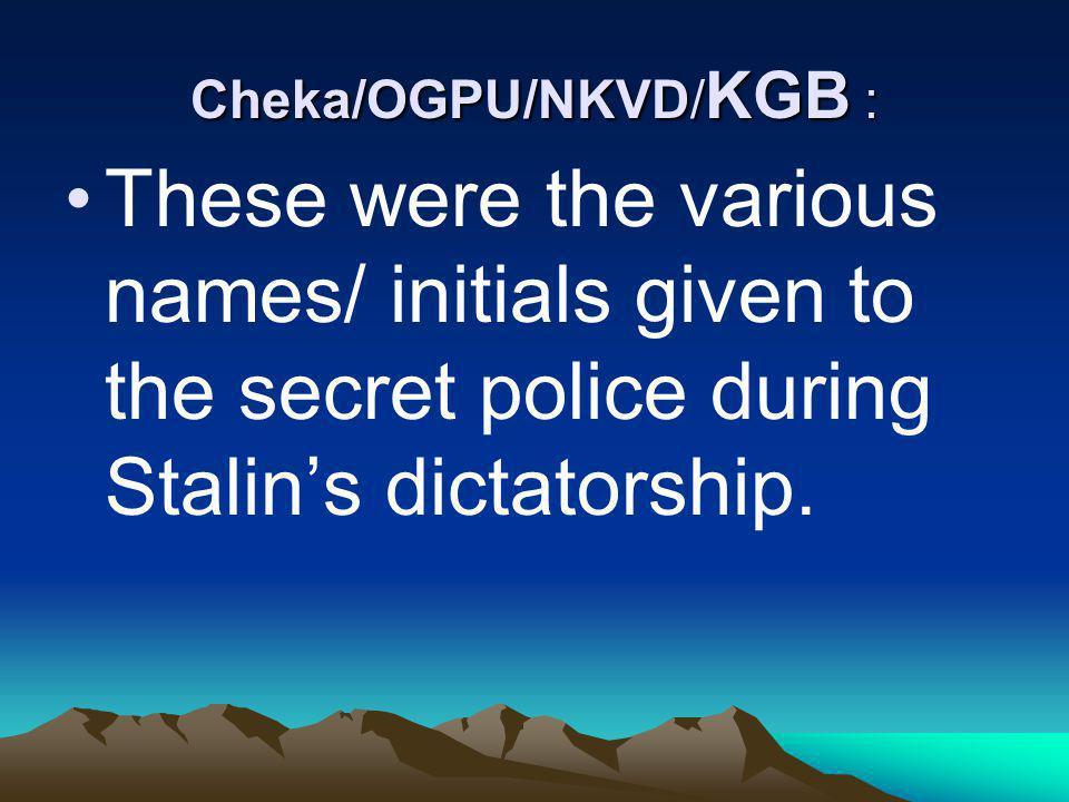 Cheka/OGPU/NKVD/KGB :