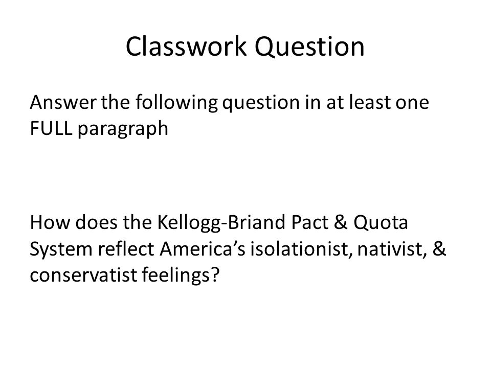 Classwork Question