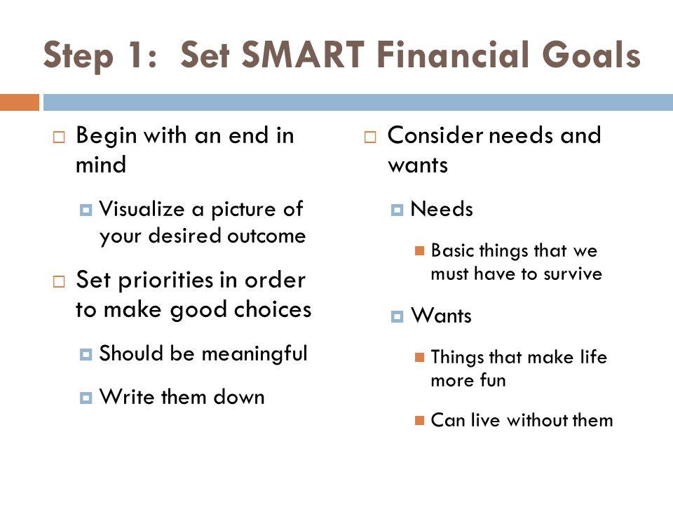 Step 1: Set SMART Financial Goals