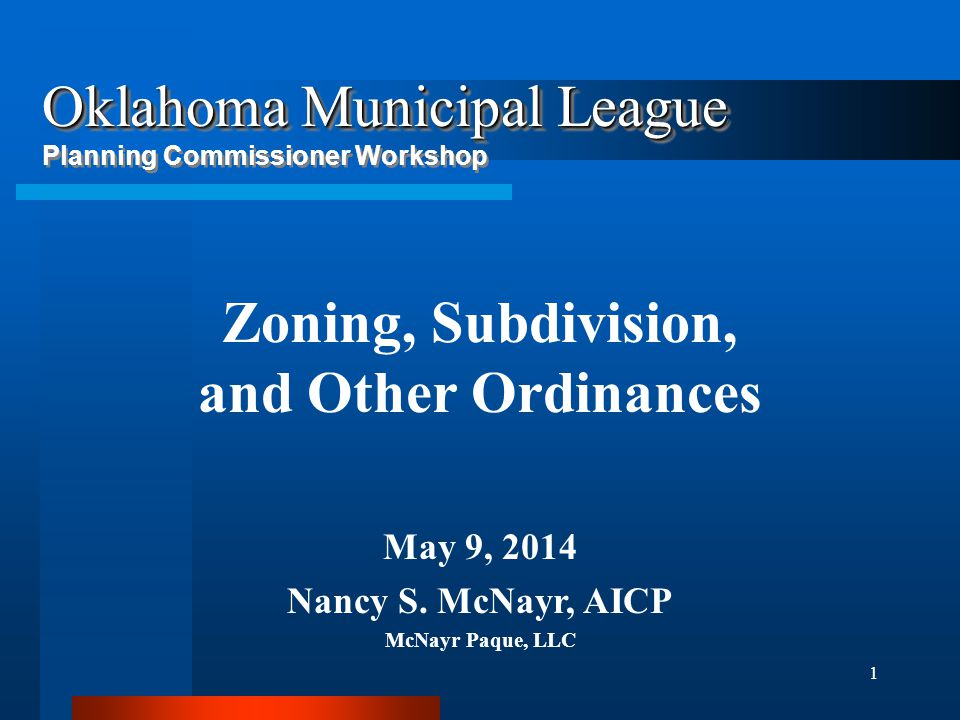 Zoning, Subdivision, and Other Ordinances