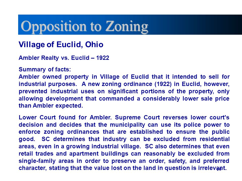 Opposition to Zoning Village of Euclid, Ohio