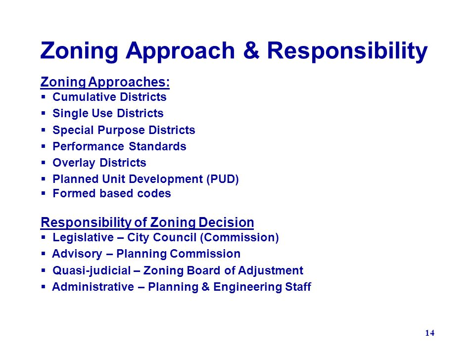 Zoning Approach & Responsibility