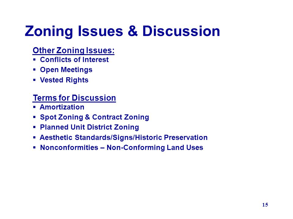 Zoning Issues & Discussion