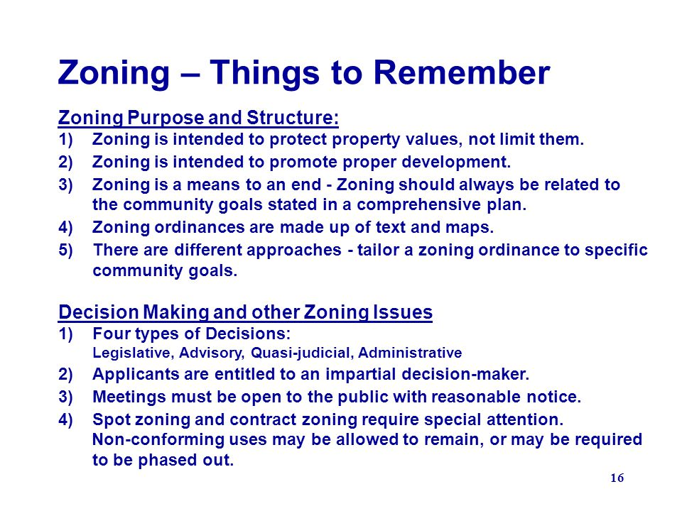 Zoning – Things to Remember