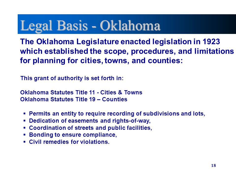 Legal Basis - Oklahoma