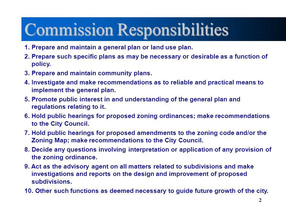 Commission Responsibilities