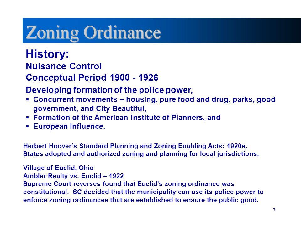 Zoning Ordinance History: Nuisance Control