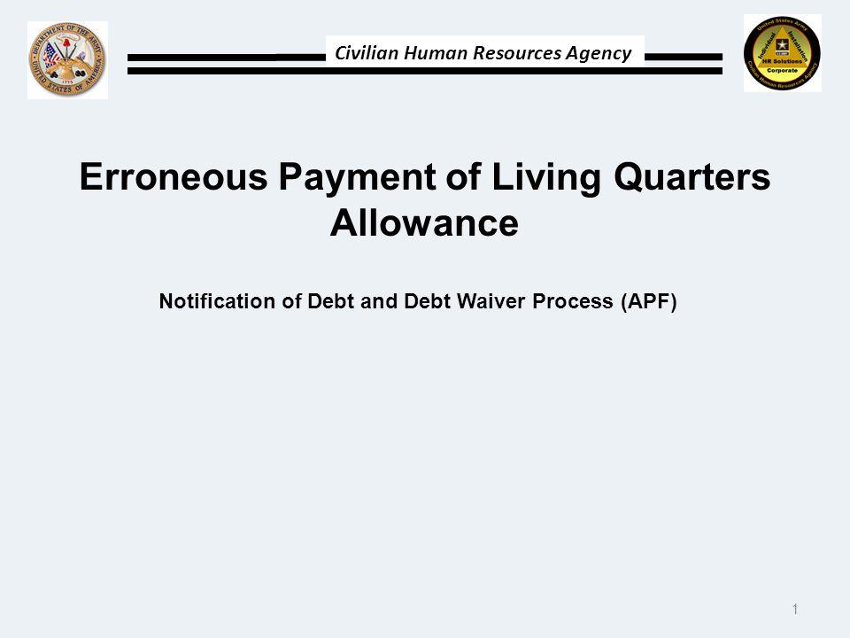 Erroneous Payment of Living Quarters Allowance