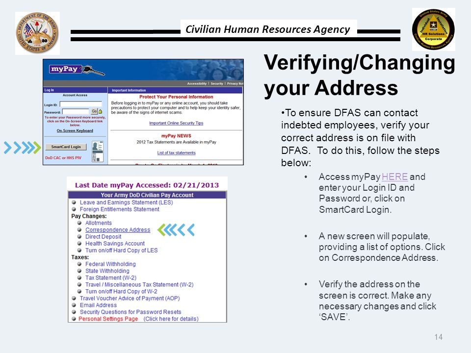 Verifying/Changing your Address