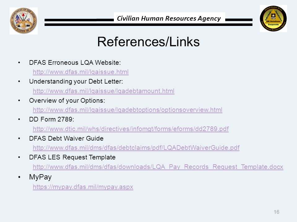 References/Links MyPay DFAS Erroneous LQA Website: