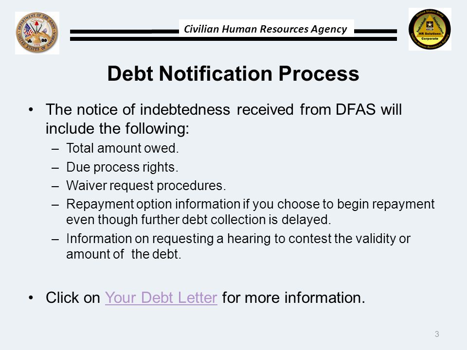Debt Notification Process