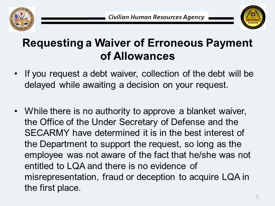 Requesting a Waiver of Erroneous Payment of Allowances