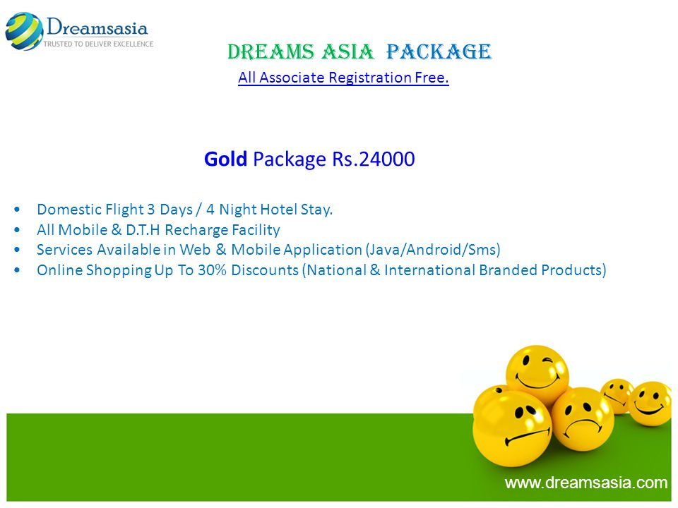 Dreams Asia Package All Associate Registration Free.