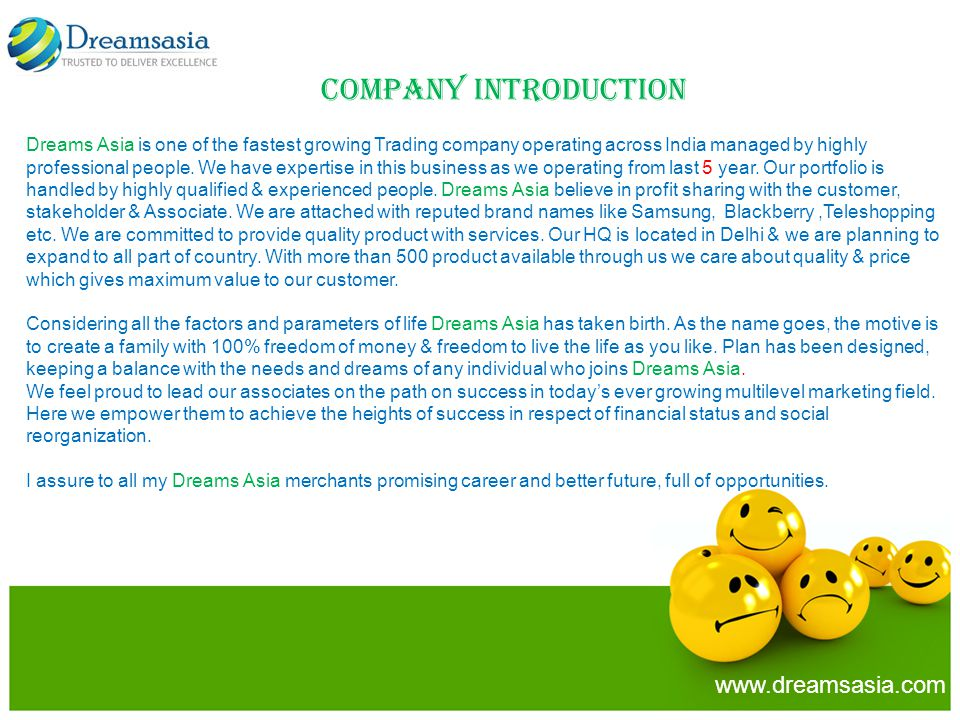 Company Introduction www.dreamsasia.com