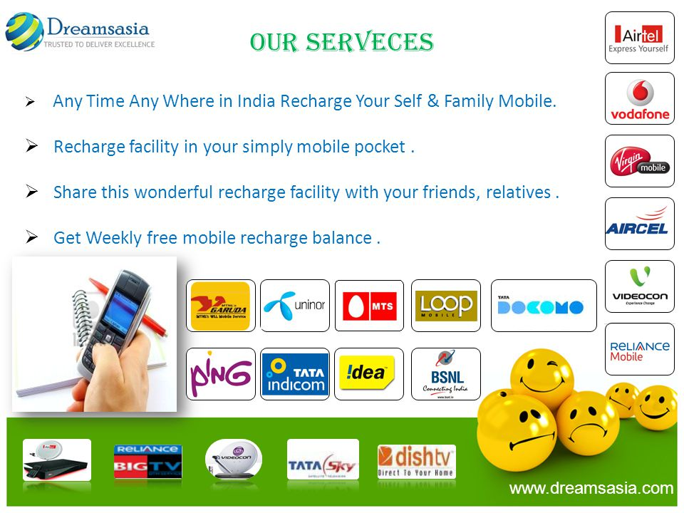 OUR SERVECES Recharge facility in your simply mobile pocket .