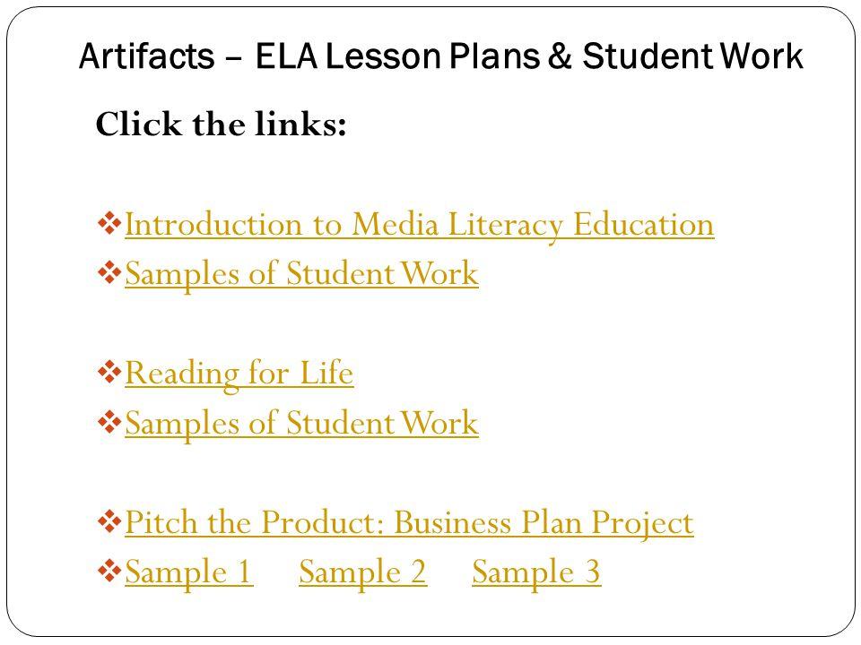 Artifacts – ELA Lesson Plans & Student Work