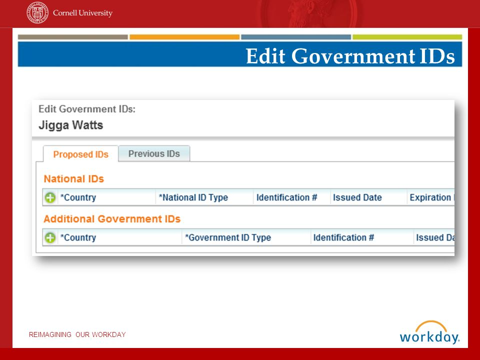 Edit Government IDs