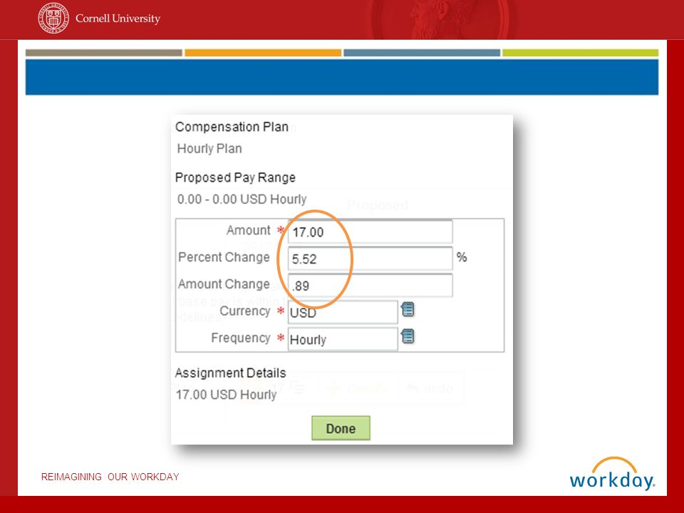 Notice that, when we fill in the amount, the percent change and amount change fields automatically update.