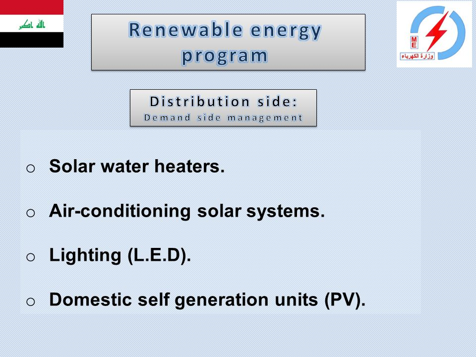 Renewable energy program Demand side management