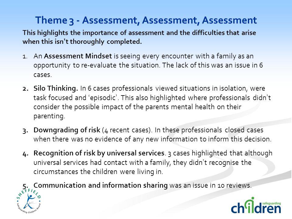 Theme 3 - Assessment, Assessment, Assessment