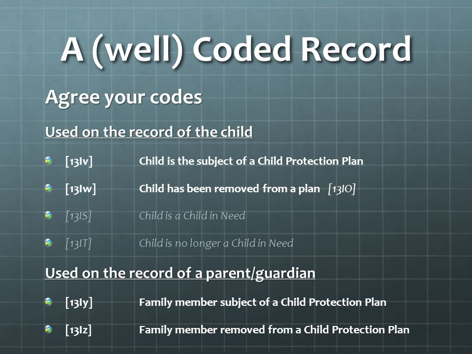A (well) Coded Record Agree your codes Used on the record of the child