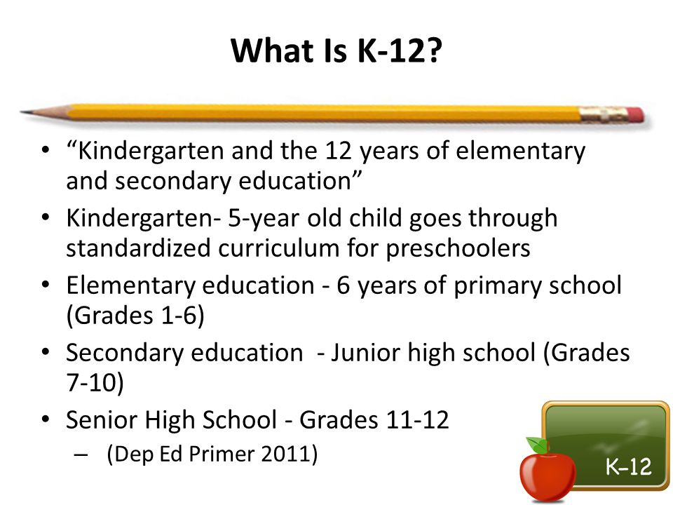 What Is K-12 Kindergarten and the 12 years of elementary and secondary education
