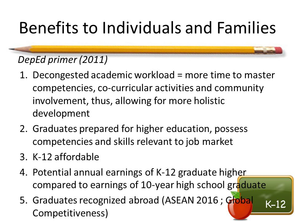 Benefits to Individuals and Families