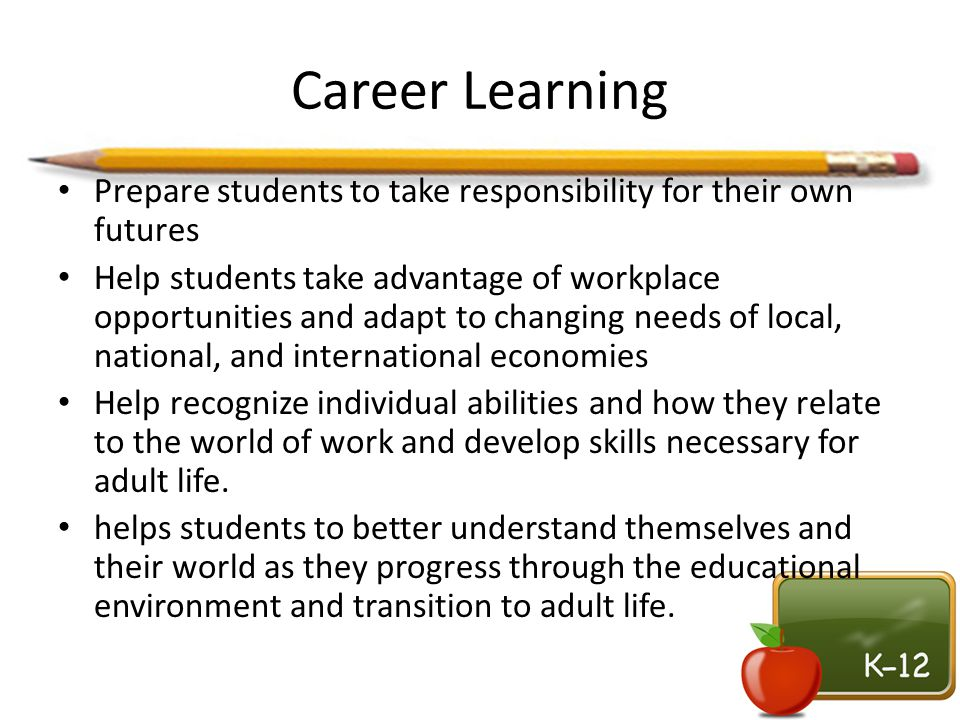 Career Learning Prepare students to take responsibility for their own futures.