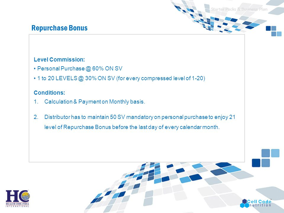 Repurchase Bonus Level Commission: • Personal Purchase @ 60% ON SV