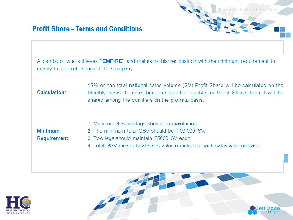 Profit Share – Terms and Conditions