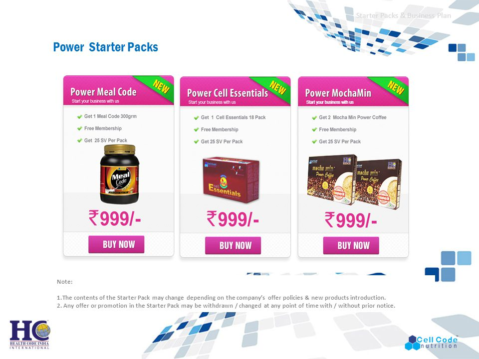 Power Starter Packs Starter Packs & Business Plan