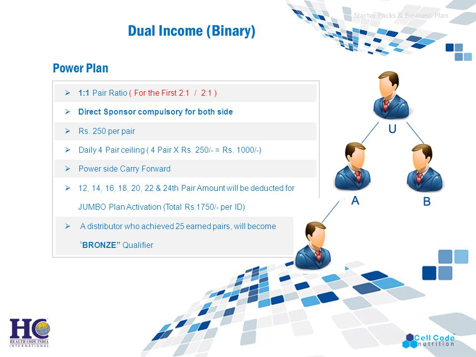 Dual Income (Binary) Power Plan Starter Packs & Business Plan