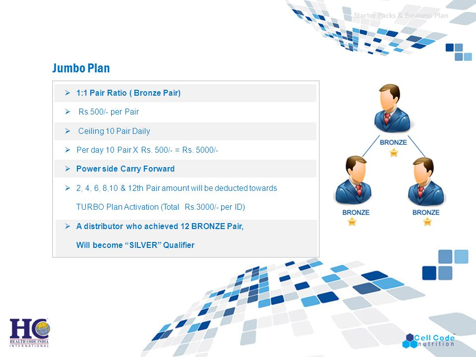Jumbo Plan Starter Packs & Business Plan 1:1 Pair Ratio ( Bronze Pair)