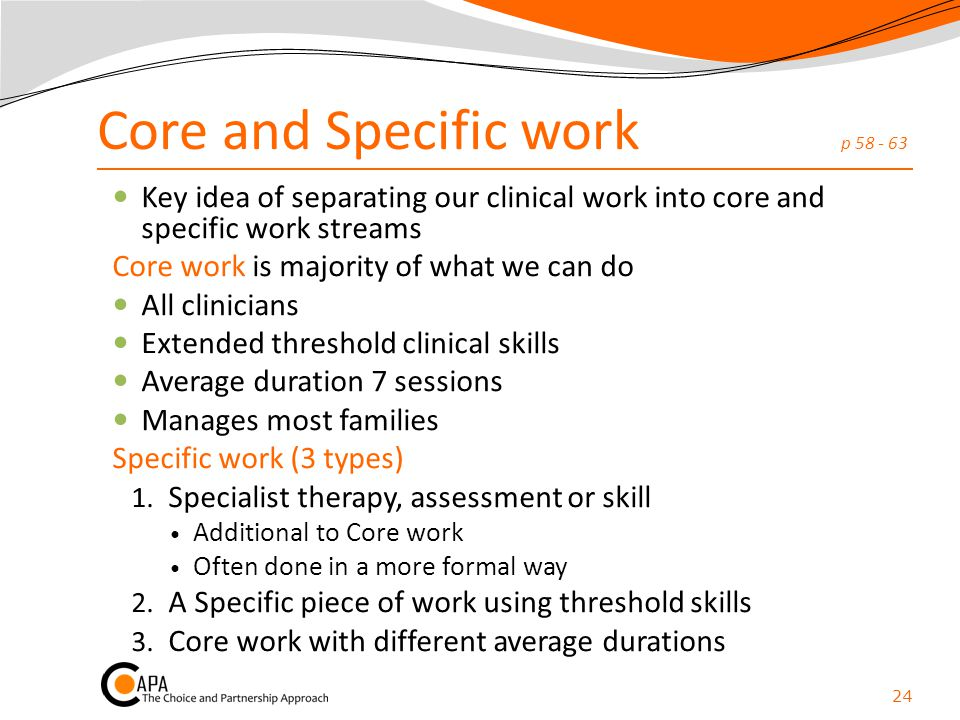Core and Specific work p 58 - 63