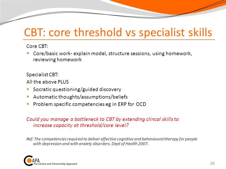 CBT: core threshold vs specialist skills