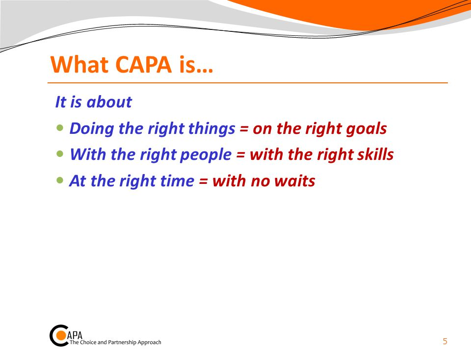 What CAPA is… It is about Doing the right things = on the right goals
