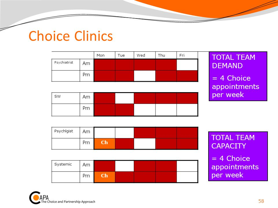 Choice Clinics TOTAL TEAM DEMAND = 4 Choice appointments per week