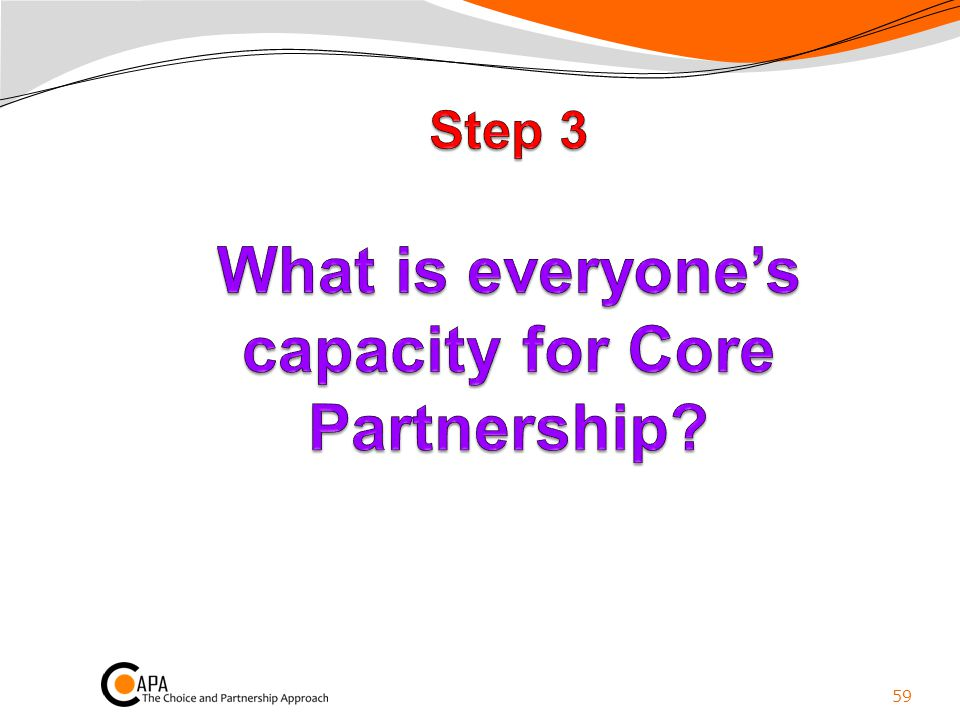 Step 3 What is everyone's capacity for Core Partnership