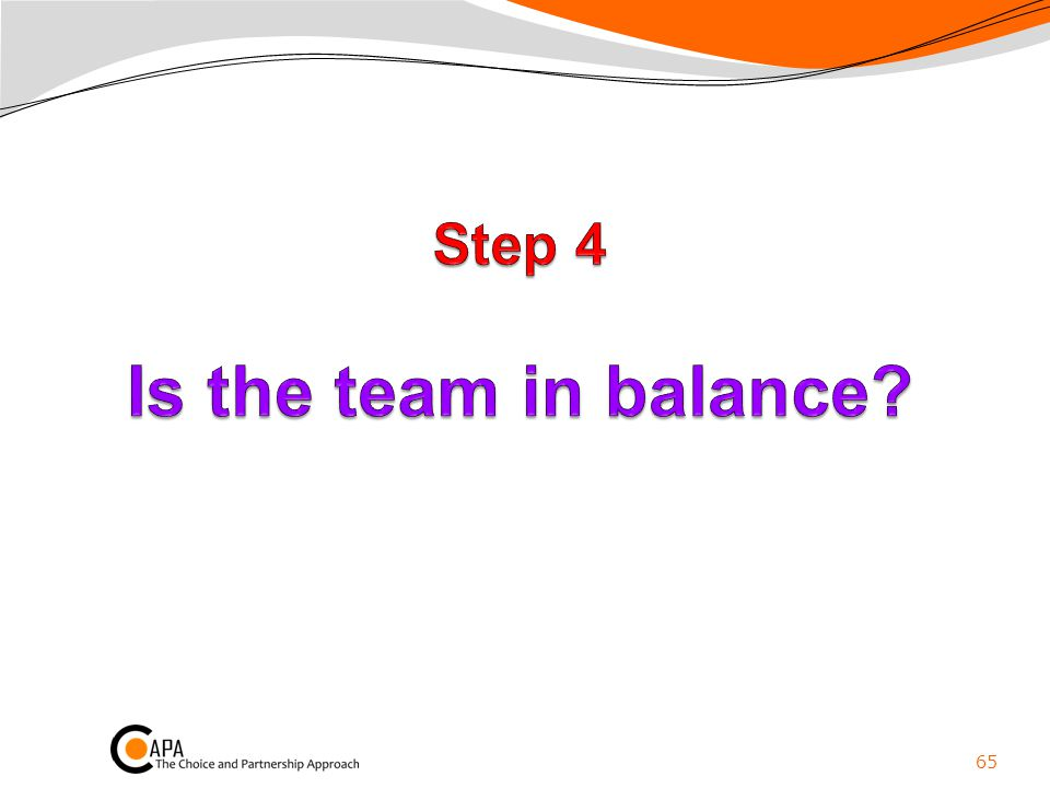 Step 4 Is the team in balance