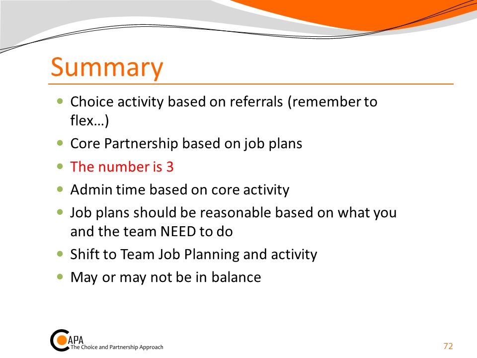 Summary Choice activity based on referrals (remember to flex…)