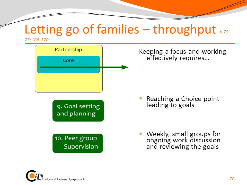 Letting go of families – throughput p 75-77; 168-170