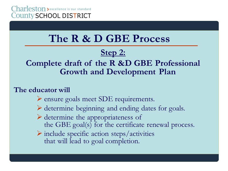 The R & D GBE Process Step 2: