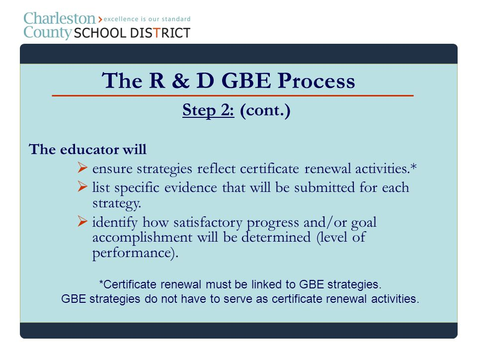 The R & D GBE Process Step 2: (cont.) The educator will