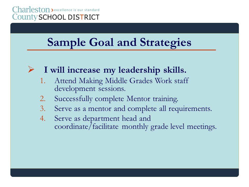 Sample Goal and Strategies