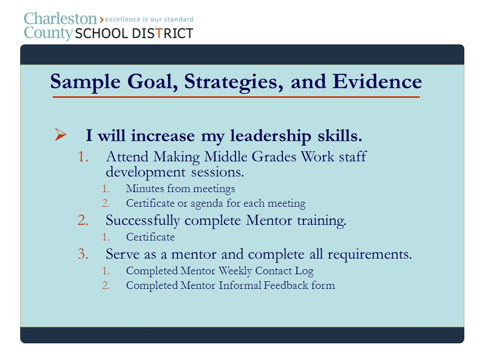 Sample Goal, Strategies, and Evidence